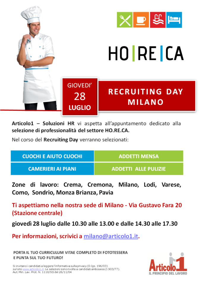 Recruiting Day HO.RE.C.A Milano